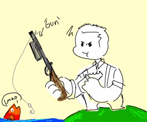 fishing with a gun