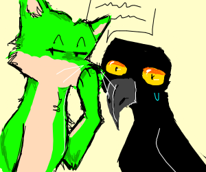 Green fox whispering secret to crow