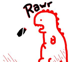 A dino eating a mono burrito