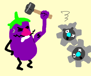 Eggplant hitting gears with hammer