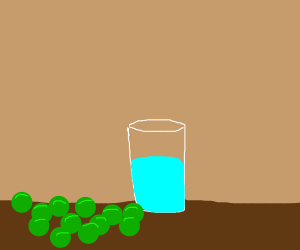 Peas and a cup of water