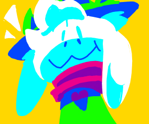 Asriel witha green fedora and pink scarf