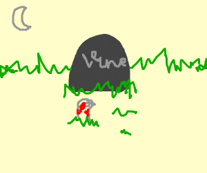 Zombie vine (app) crawling out of grave at ni