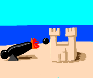 Destroying a sandcastle