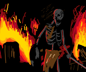 skeleton warrior surrounded by flames