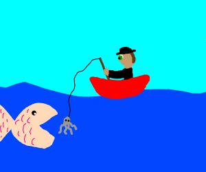some dude fishing a smol bean octopus