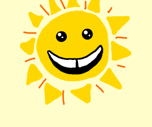 the sun but smiling with a gap in tooth
