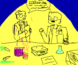 Two scientists talking scribblish in a lab