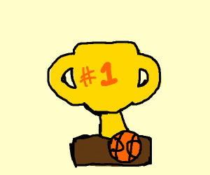A tiny basketball in front of the trophy.
