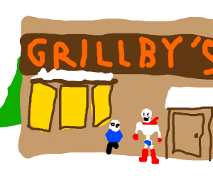 Sans goes to gribly's :3