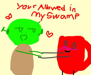 Shrek and red cup guy get gay married
