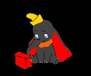 Dumbo playing piano in the dark