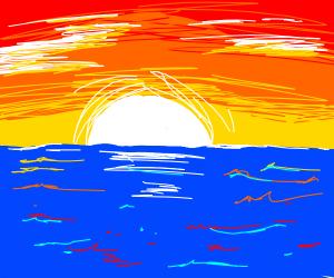 Beautiful sunset over a rocky ocean