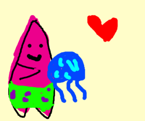 Patrick sees blue jellyfish as his own