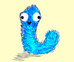 blue fuzzy worm thing