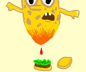 Spongebob is melting into ketchup