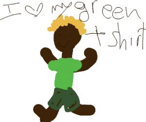 some black dude with green tshirt