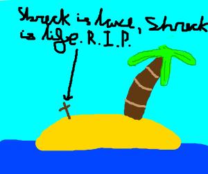 shrek buried in sand on a island