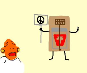 A trap signals peace