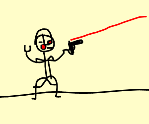 cyborg is aiming with a gun