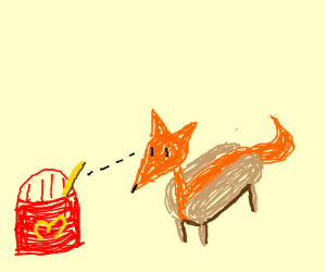 Hot dog fox stares at macdondal fry