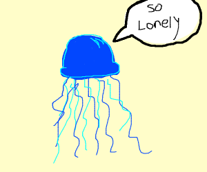 blue jellyfish is alone