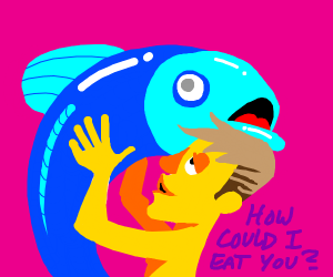 Yellow man tries to eat big blue fish