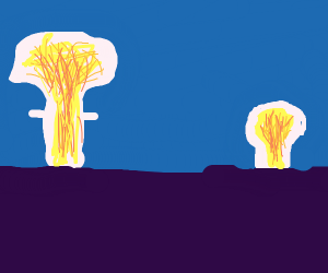 Two mushroom clouds in the horizon