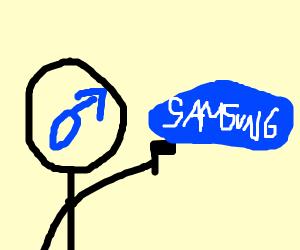 Man pointing gun at samsung logo