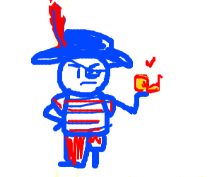 angry pirate holding a snail