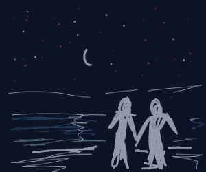 Couple taking a midnight stroll