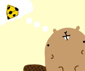 Beaver thinking of cheese