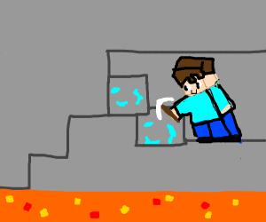 Minecraft guy mining near lava
