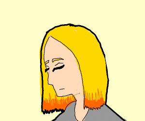 blonde girl with orange highlights