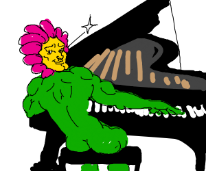Flower playing the piano