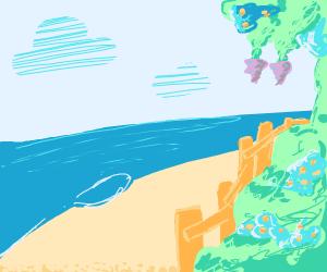Beach next to colourful garden