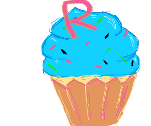 Cupcake with an R on top