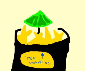 a lone green umbrella