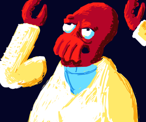 Zoidberg with his arms in the air
