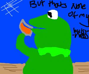 Kermit drinking coffee meme