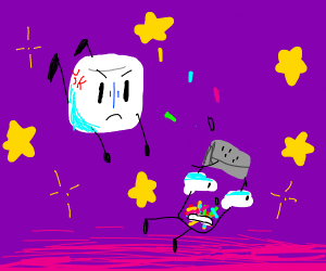 Space marshmallow angry at rainbow sprinkles