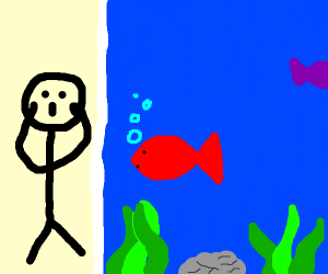 Man suprised by red fish