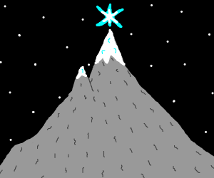 Star shining on top of a mountain