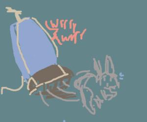 dust bunny running from vacuum