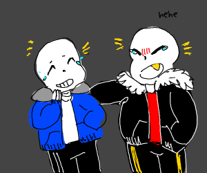 Sans and Underfell Sans giggling together