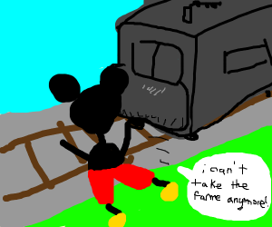 micky jumps in front of a train