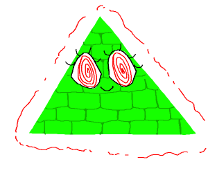Green triangle with 2 eyes instead of 1