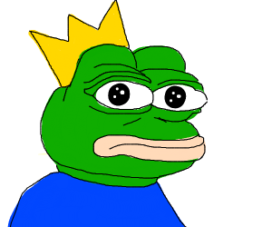 Sad Pepe but with a crown