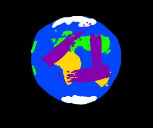Purple paint on the world