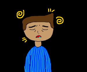 Confused sleepy guy in the dark